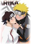1boy 1girl blonde_hair blue_eyes blush brown_eyes brown_hair highres naruto stiky_finkaz surprised tenten uzumaki_naruto