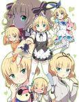 >_< 1girl :d :o alternate_hairstyle animal_ears apron aqua_bow between_legs black_legwear black_ribbon black_shoes blazer blonde_hair blue_bow blue_dress blue_ribbon blush bow bunny_girl bunny_tail center_frills checkered checkered_necktie clenched_hand clenched_hands closed_eyes closed_mouth clover_print collared_shirt cup domino_mask dress english eyebrows eyebrows_visible_through_hair eyepatch fleur_de_lapin_uniform flyer flying_sweatdrops french frilled_apron frills gochuumon_wa_usagi_desu_ka? green_eyes hair_bow hair_ribbon hairband hand_between_legs hand_on_hip hand_on_own_head head_tilt heart_print highres holding_paper hood hoodie jacket kirima_sharo kneehighs lolita_hairband long_hair long_sleeves looking_at_viewer low_twintails mask multiple_views neck_ribbon necktie nose_blush one_eye_closed open_mouth outline outstretched_arm paper_stack parted_lips phantom_thief_lapin polka_dot polka_dot_dress profile puffy_short_sleeves puffy_sleeves rabbit_ears ribbon samnedar school_uniform shirt shoes short_hair short_sleeves shorts silhouette sitting sleeveless sleeveless_dress smile standing striped striped_legwear striped_ribbon stuffed_animal stuffed_bunny stuffed_toy sweatdrop tail teacup teapot thigh-highs tray twintails waist_apron wavy_mouth white_background white_dress white_legwear white_shirt white_shorts wing_collar wrist_cuffs
