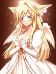 1girl angel angel_wings animal_ears ban'ya_(konshin) blonde_hair blue_eyes blush breasts cleavage colored_eyelashes fox_ears halo highres konshin large_breasts original pixiv_forest smile solo steepled_fingers wings