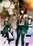 2boys 5girls amane_suzuha bike_shorts black_legwear boots faris_nyannyan glasses hat highres huke kiryuu_moeka makise_kurisu multiple_boys multiple_girls official_art okabe_rintarou pantyhose shiina_mayuri steins;gate urushibara_ruka