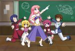 2boys 3girls athrun_zala gundam gundam_seed gundam_seed_destiny hare_hare_yukai haro kira_yamato lunamaria_hawke meer_campbell multiple_boys multiple_girls parody pose stellar_loussier suzumiya_haruhi_no_yuuutsu zaku