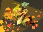 2girls artist_name blonde_hair blue_dress bow cirno commentary dress green_hat hat hat_bow hat_ribbon kirisame_marisa link link_(cosplay) looking_at_viewer master_sword minigirl multiple_girls mushroom navi navi_(cosplay) open_mouth ribbon smile star sword temmie_chang the_legend_of_zelda touhou tunic weapon yellow_eyes
