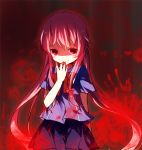 1girl bad_id blood gasai_yuno hand_to_own_mouth lowres mirai_nikki pf pink_hair red_eyes shaded_face smirk solo yandere