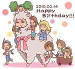3boys 3girls ahoge alpaca blonde_hair blush bow brown_hair chewing chibi claire_(harvest_moon) closed_eyes crying dated eating happy_birthday harvest_moon hat llama long_hair mark_(harvest_moon) multiple_boys multiple_girls open_mouth pete_(harvest_moon) pony_(harvest_moon) ponytail sara_(harvest_moon) short_hair tears tony_(harvest_moon) |_|