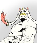 alex_louis_armstrong animal_ears biceps facial_hair flexing fullmetal_alchemist fusion gradient gradient_background grey_background heyu_(jefasun) kyubey mahou_shoujo_madoka_magica male_focus muscle mustache no_humans parody pose simple_background sparkle veins