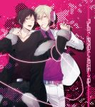 2boys bad_id black_hair cigarette coat delic durarara!! formal fur_trim gradient gradient_background grin headphones heiwajima_shizuo male_focus multiple_boys orihara_izaya psychedelic_dreams red_eyes ryugo short_hair smile suit xia_(ryugo)