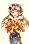 1girl ^_^ animal_ears blush closed_eyes female hands_together hat head_scarf japanese_clothes mystia_lorelei okamisty own_hands_together pink_hair shinoasa short_hair smile solo tasuki touhou traditional_media wings