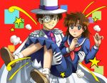 1boy 1girl blue_eyes blush brown_hair cape carrying formal fujii_satoshi gloves grin hat kaitou_kid kuroba_kaitou meitantei_conan monocle nakamori_aoko princess_carry school_uniform serafuku short_hair smile star surprised top_hat white_gloves