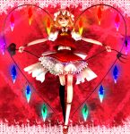 1girl bad_id blonde_hair bloomers blush dress female fingernails flandre_scarlet hat heart laevatein lance large_wings legs long_legs polearm raised_eyebrow red_eyes red_shoes shoes short_hair side_ponytail skinny solo the_embodiment_of_scarlet_devil touhou trident underwear walking weapon wings yutazou