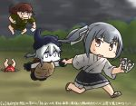 4girls brown_eyes commentary_request dated destroyer_hime dudou fleeing gloves hachimaki hair_between_eyes hamu_koutarou hat headband inugami-ke_no_ichizoku_pose kagerou_(kantai_collection) kantai_collection kasumi_(kantai_collection) kitakami_(kantai_collection) long_hair multiple_girls open_mouth photo_(object) pleated_skirt shinkaisei-kan side_ponytail silver_hair skirt sweat turtle_shell white_hair white_skin