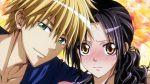 1boy 1girl ayuzawa_misaki black_hair blonde_hair blush brown_eyes close-up face green_eyes kaichou_wa_maid-sama! long_hair portrait usui_takumi wakino_keibun