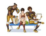 3boys avatar:_the_last_airbender avatar_(series) bag black_hair brown_hair cheerleader chopsticks crossdressing cup dark_skin earrings food football football_uniform gloves hamburger jet_(avatar) jewelry knee_pads kyosa male_focus mcdonald's multiple_boys muscle necklace nickelodeon pizza scar skirt sokka sport sportswear straw zuko