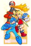 1girl 2boys :d android arm_cannon beat_(rockman) blues_(rockman) bodysuit boots capcom full_body gloves knee_boots looking_at_viewer multiple_boys nakayama_tooru open_mouth parody red_skirt rockman rockman_(character) rockman_(classic) rockman_zero roll skirt smile style_parody weapon white_gloves