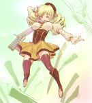 1girl beret blonde_hair blush boots breasts brown_legwear corset detached_sleeves drill_hair foreshortening gun hair_ornament hairpin hat impossible_clothes impossible_shirt large_breasts magical_girl magical_musket mahou_shoujo_madoka_magica musket nichiru open_mouth pleated_skirt puffy_sleeves ribbon rifle shirt skirt smile solo striped striped_legwear taut_clothes taut_shirt thigh-highs tomoe_mami twin_drills vertical-striped_legwear vertical_stripes weapon wink yellow_eyes zettai_ryouiki