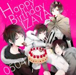 4boys alternate_costume animal_ears black_hair blush cake casual cat_ears crown dakimakura_(object) durarara!! food fur_trim headphones heiwajima_shizuo hibiya maine maine_(unap!) male_focus mouth_hold multiple_boys multiple_persona orihara_izaya pillow psyche_(durarara!!) psychedelic_dreams red_eyes short_hair sleeping subarashii_hibi
