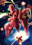 axe beam beam_rifle char's_counterattack energy_gun funnels gun gundam highres hiro_(hibikigaro) mecha no_humans realistic sazabi solo space weapon zeon