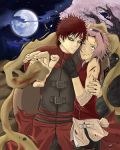 1boy 1girl cherry_blossoms gaara haruno_sakura lowres moon msmanipulateyourlife naruto night sand tree