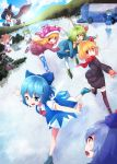 6+girls american_flag_legwear black_hair black_legwear blonde_hair blue_eyes blue_hair bow camera cirno clownpiece coat daiyousei dress fairy_wings flying gloves green_eyes green_hair hat ice ice_skates ice_skating jester_cap kamishirasawa_keine kawashiro_nitori kochiya_sanae leaning_forward long_hair moriya_suwako multiple_girls open_mouth outdoors outstretched_arms red_eyes ribbon rumia scarf shameimaru_aya shirt short_hair side_ponytail skates skating skirt smile squatting sweater thigh-highs touhou white_legwear wings zettai_ryouiki
