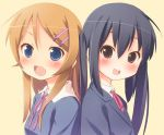 2girls black_hair blue_eyes blush crossover fang k-on! kousaka_kirino long_hair multiple_girls nakano_azusa open_mouth orange_hair ore_no_imouto_ga_konna_ni_kawaii_wake_ga_nai ramble round_teeth seiyuu_connection taketatsu_ayana teeth twintails