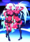 2girls aqua_hair arm_behind_head arm_up bare_shoulders boots breasts chiba_toshirou cleavage demon_girl female full_body glasses green_hair hand_on_hip high_heel_boots high_heels horns huge_breasts kneesocks_(psg) large_breasts legs long_hair midriff multiple_girls navel panty_&_stocking_with_garterbelt red_skin scanty_(psg) shoes smile standing standing_on_one_leg thigh-highs very_long_hair