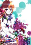 1girl 2743haebaru absurdres bare_shoulders belt breasts dress female flower highres long_hair open_mouth plant red_eyes redhead sf-a2_miki smile solo vocaloid