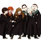 1girl 5boys angry black_hair blonde_hair book brown_hair draco_malfoy glasses gregory_goyle harry_james_potter harry_potter hermione_granger long_hair maiko_(setllon) multiple_boys necktie redhead robe ron_weasley school_uniform short_hair vincent_crabbe wand