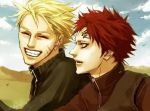2boys blonde_hair closed_eyes desert gaara lily_(artist) lowres male_focus multiple_boys naruto redhead sky smile tattoo uzumaki_naruto