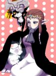 2girls blue_eyes blush brown_hair cape goma_tonbi helmet imp link link_(wolf) long_hair midna multiple_girls nintendo pointy_ears princess_zelda red_eyes smile the_legend_of_zelda the_legend_of_zelda:_twilight_princess wolf