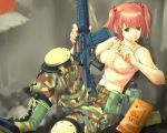 1girl army assault_rifle belt boots breasts camouflage canteen eating erect_nipples food food_in_mouth gun hair_bobbles hair_ornament katayama_makoto kinpika1966 knee_pads m4_carbine medium_breasts midriff pink_hair rations rifle shirt solo tank_top taut_clothes taut_shirt twintails weapon