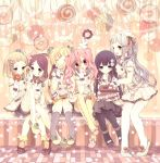 6+girls blonde_hair blue_eyes bow candy closed_eyes doughnut eating food hair_bobbles hair_bow hair_ornament hair_ribbon hairclip highres lollipop long_hair moriyama_shijimi multiple_girls original pastry pink_eyes pink_hair ponytail purple_hair ribbon school_uniform short_hair side_ponytail sitting skirt standing thigh-highs twintails violet_eyes yellow_eyes