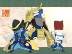 armor clothed_pokemon cosplay date_masamune date_masamune_(cosplay) date_masamune_(sengoku_basara) dewott fan flag hachimaki headband helmet japanese_armor japanese_clothes kabuto katana no_humans oshawott pokemon pokemon_(creature) ronin samurai samurott sengoku_basara sheath sword tears weapon