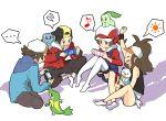 ... 00s 10s 2boys 2girls alternate_costume baseball_cap capcom chikorita footwear gold_(pokemon) hanamakisan handheld_game_console hat kotone_(pokemon) monster_hunter multiple_boys multiple_girls musical_note oshawott playstation_portable pokemon pokemon_(creature) pokemon_(game) pokemon_bw pokemon_hgss sitting snivy socks thigh-highs tm_(hanamakisan) totodile touko_(pokemon) touya_(pokemon)