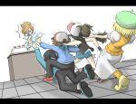 10s 2boys 3girls an araragi_(pokemon) bel_(pokemon) black_hair character_request cheren_(pokemon) hair_bun hair_pull hat labcoat multiple_boys multiple_girls orange_legwear pantyhose pokemon pokemon_(game) pokemon_bw simple_background skirt touko_(pokemon) touya_(pokemon) white_background