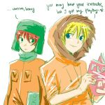 2boys blonde_hair earflap_hat hat hood kenny_mccormick kyle_broflovski lowres male_focus multiple_boys playboy south_park upper_body white_background