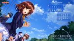 4girls abhar blue_eyes blue_hair blush brown_eyes brown_hair calendar clouds furukawa_yui hair_ornament hair_ribbon hanamiya_nagisa hasekura_airi hat highres kuroya_shinobu long_hair misaki_kurehito multiple_girls open_mouth petals ribbon sasaki_kaori school_uniform skirt sky tree ushinawareta_mirai_wo_motomete waving