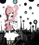 1girl black_eyes headset kumi_waka_asu long_hair megurine_luka pink_hair pirukuru polka_dot skirt solo thigh-highs twintails vocaloid white_skin