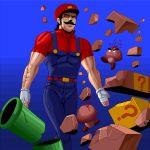 1boy blood giant gloves goomba hat manly mario mario_(series) masao mustache nintendo overalls pipe super_mario_bros. warp_pipe