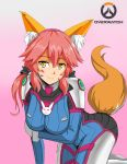 1girl animal_ears arm_support ass bent_over bodysuit breast_rest breasts caster_(fate/extra) cosplay d.va_(overwatch) d.va_(overwatch)_(cosplay) fate/extra fate_(series) fox_ears fox_tail gloves gradient gradient_background hairband honyaa~ light_smile logo long_hair looking_at_viewer overwatch pilot_suit pink_background pink_hair smile solo tail twintails whisker_markings yellow_eyes