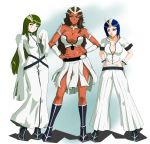 3girls aqua_eyes armband armlet arrancar bangs bleach blue_hair blunt_bangs bob_cut boots breasts brown_hair bustier cleavage cyan_sung-sun dark_skin dorimushirou dress emilou_apacci erect_nipples expressionless facial_mark franceska_mila_rose gloves green_eyes green_hair grey_eyes hands_on_hips heterochromia highres horn horns large_breasts long_hair midriff multiple_girls pants short_hair skirt skull sleeves_past_wrists slit_pupils smirk white_eyes white_gloves