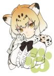 >:< 1girl :< animal_ears black_ribbon blush breast_pocket breasts cat_ears claw_pose closed_mouth collar eyebrows eyebrows_visible_through_hair eyelashes frilled_shirt frills fur_collar gradient_hair hand_up jaguar_(kemono_friends) jaguar_ears jaguar_print japari_symbol kemono_friends large_breasts looking_at_viewer multicolored_hair neck_ribbon nose_blush orange_eyes orange_hair pocket ribbon shirt short_hair short_sleeves sidelocks simple_background solo sumeragi_kohaku tsurime two-tone_hair upper_body white_background white_hair white_shirt