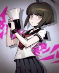 >:( 1girl ahoge arched_back bangs black_hair black_skirt blush bracelet closed_mouth cowboy_shot danganronpa eyebrows eyebrows_visible_through_hair green_eyes highres holding huge_ahoge ilya_kuvshinov jewelry looking_at_viewer megaphone naegi_komaru neckerchief nose_blush pleated_skirt school_uniform serafuku serious shadow short_hair short_sleeves skirt solo standing zettai_zetsubou_shoujo