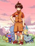 1boy brown_eyes brown_hair bulbasaur minun plusle poke_ball pokemon pokemon_(creature) pokemon_trainer quagsire sky turtwig twilight wooper