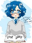 1girl 4chan ? blue_eyes blue_hair captcha-tan drawfag glasses necktie original personification short_hair skirt tagme