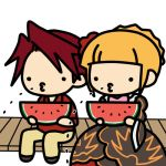 1boy 1girl beatrice chibi dress food fruit holding holding_fruit kashiwa_kiseri lowres o3o seed sitting spitting umineko_no_naku_koro_ni ushiromiya_battler watermelon
