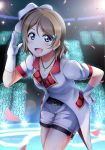 1girl :d blue_eyes coattails earrings flower frills gloves glowstick grey_hair hair_flower hair_ornament hand_on_hip hat highres jewelry leaning_forward looking_at_viewer love_live! love_live!_school_idol_project love_live!_sunshine!! mirai_ticket open_mouth pendant petals salute shiimai short_hair short_sleeves shorts side_slit smile solo song_name stage_lights watanabe_you white_gloves
