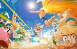 >_< 5girls 6+boys =_= attack ball beach bikini bird blue_sky bowser_jr. captain_falcon closed_eyes donkey_kong donkey_kong_(series) doubutsu_no_mori f-zero facepalm fire_emblem fire_emblem:_fuuin_no_tsurugi fire_emblem:_monshou_no_nazo fox_mccloud hat helmet innertube jisuart jumping kirby kirby_(series) lens_flare lifeguard lifeguard_chair link male_swimwear mario_(series) marth meta_knight metroid midair midriff mother_(game) mother_2 multiple_boys multiple_girls navel ness nintendo o3o one-piece_swimsuit palm_tree pikachu pokemon pokemon_(creature) pom_poms princess_peach princess_zelda rockman rockman_(character) rockman_(classic) rosetta_(mario) roy_(fire_emblem) samus_aran sand sand_castle sand_sculpture scoreboard scuba_gear seagull shirtless sky sports_bikini squirtle star_fox sunglasses sunlight super_mario_bros. super_mario_galaxy super_smash_bros. swim_trunks swimsuit swimwear tears the_legend_of_zelda tree villager_(doubutsu_no_mori) volleyball volleyball_net