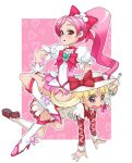 00s 2girls ashita_no_nadja blonde_hair boots bow brown_eyes bullying company_connection crossover cure_blossom femdom hanasaki_tsubomi heartcatch_precure! highres human_chair human_furniture knee_boots long_hair magical_girl multiple_girls nadja_applefield pink_background pink_bow pink_eyes pink_hair ponytail precure takoyaki_neko-san tears touei wand yuri