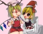 2girls :d bad_id blonde_hair christmas closed_eyes fangs female flandre_scarlet gift hat in_container lowres multiple_girls open_mouth red_eyes red_nose rumia rune_(solitonbeam) sack santa_hat short_hair smile the_embodiment_of_scarlet_devil touhou wince wings youkai