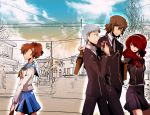 2boys 2girls aragaki_shinjirou atlus bad_id bow brown_hair eating female_protagonist_(persona_3) grey_hair h.b._(abasparky) hair_ornament hairpin headband headphones kirijou_mitsuru multiple_boys multiple_girls no_hat persona persona_3 persona_3_portable red_eyes redhead ribbon sanada_akihiko school_uniform serafuku skirt sweatdrop