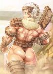 1girl absurdres aqua_eyes argus ass axe back bare_back giant giantess highres lips looking_back muscle personification scan shadow_of_the_colossus shigatake short_hair solo weapon white_hair